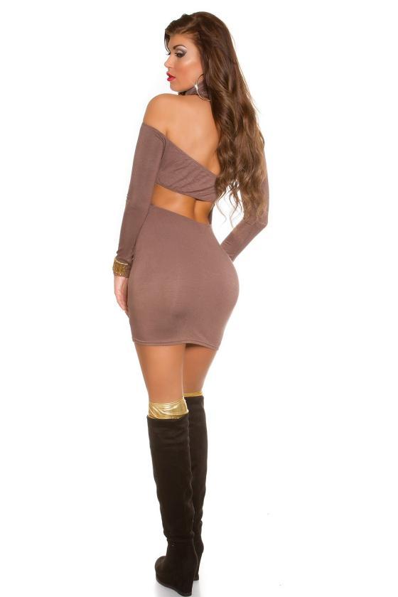 Elastinga smėlio spalvos suknelė dekoruota sagomis_148935