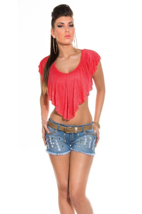 Raudonos spalvos sportinio stiliaus tunika su dirželiu ir gobtuvu_149523