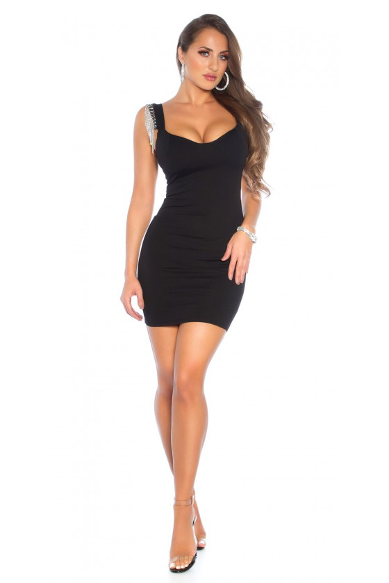 Juodos spalvos trumpa suknelė su blizgiais kūtais_149922