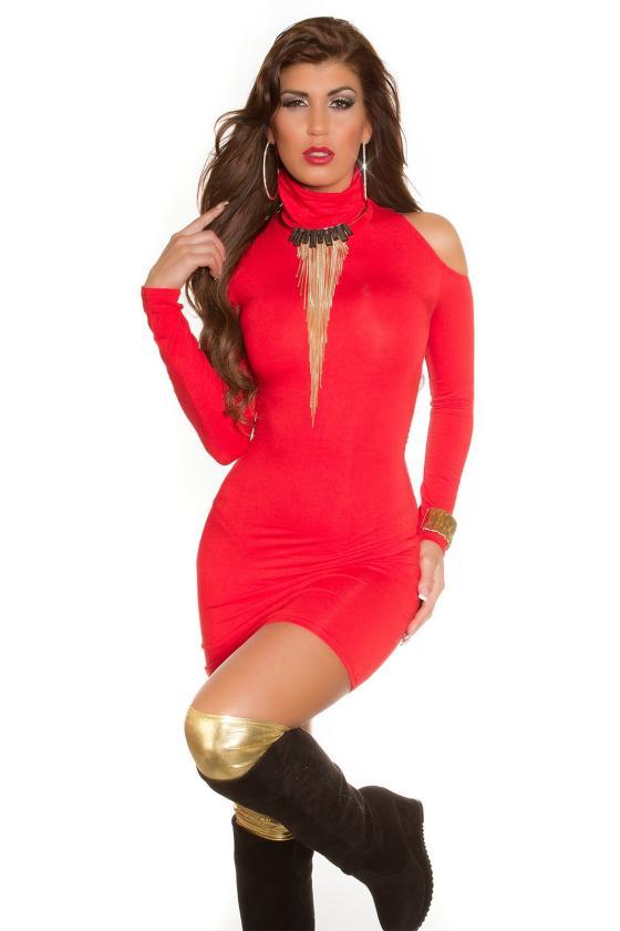 Baltos spalvos megztinio tipo suknelė