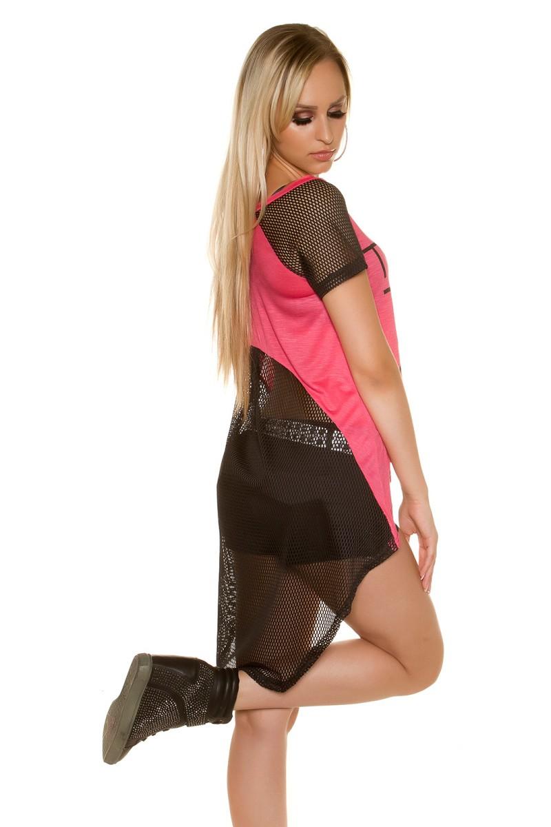 Violetinės spalvos suknelė su kapišonu ir kišenėmis