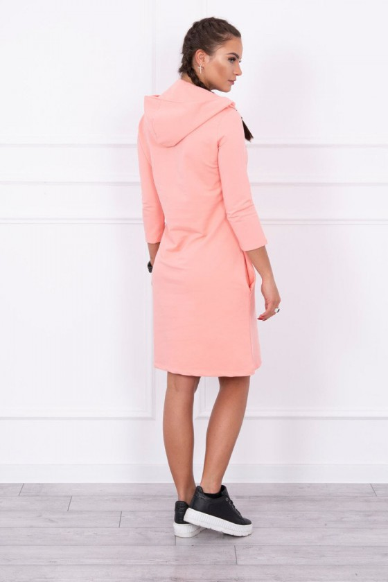 Persiko spalvos suknelė su kapišonu ir kišenėmis_151243