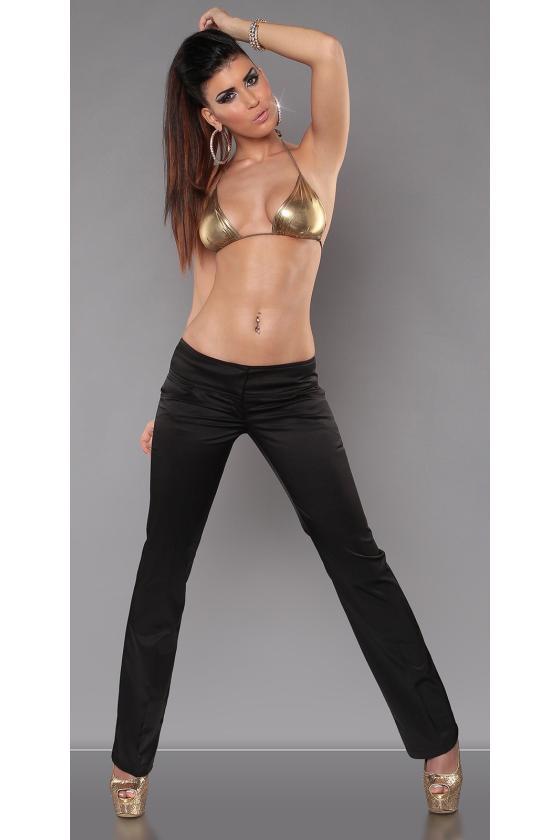 Tamsiai mėlynos spalvos cargo stiliaus laisvalaikio kelnės