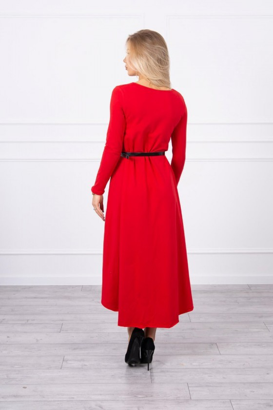 Raudonos spalvos suknelė su dirželiu_151541