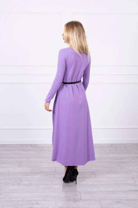 Violetinės spalvos suknelė su dirželiu_151559