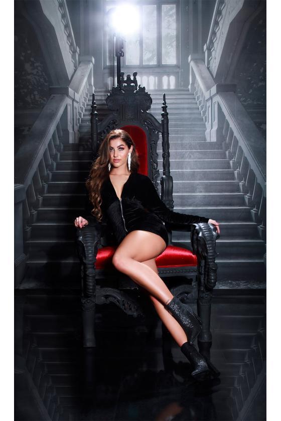 Juodos spalvos medvilninė suknelė LN120_152351