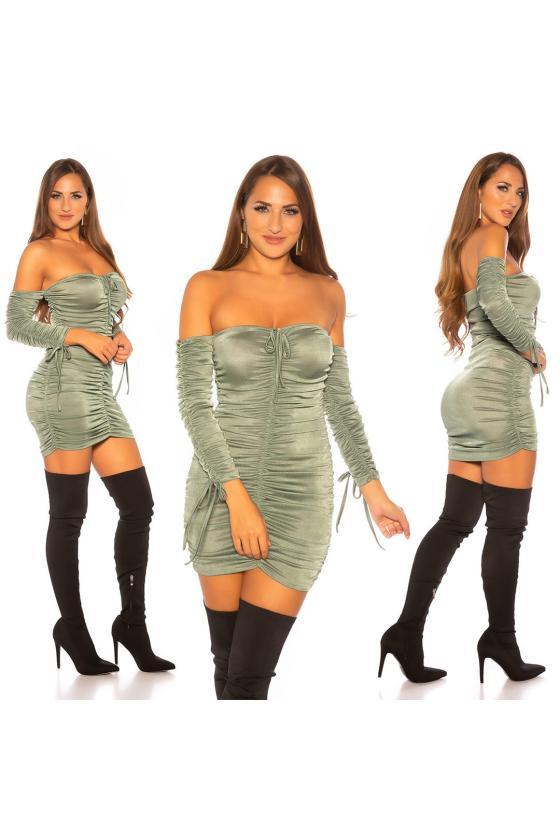 Smėlio spalvos trumpa suknelė dekoruota tiuliu_152868