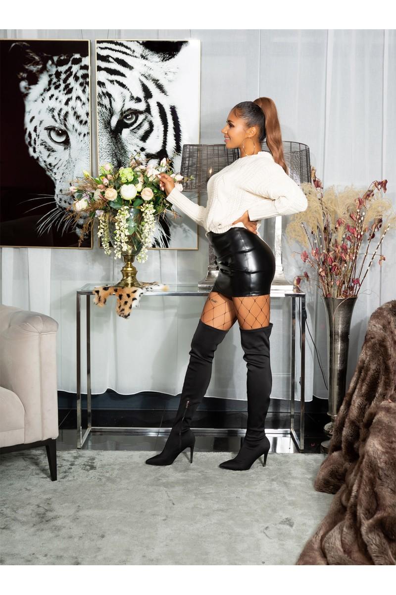 Smėlio spalvos trumpa suknelė dekoruota tiuliu_152870