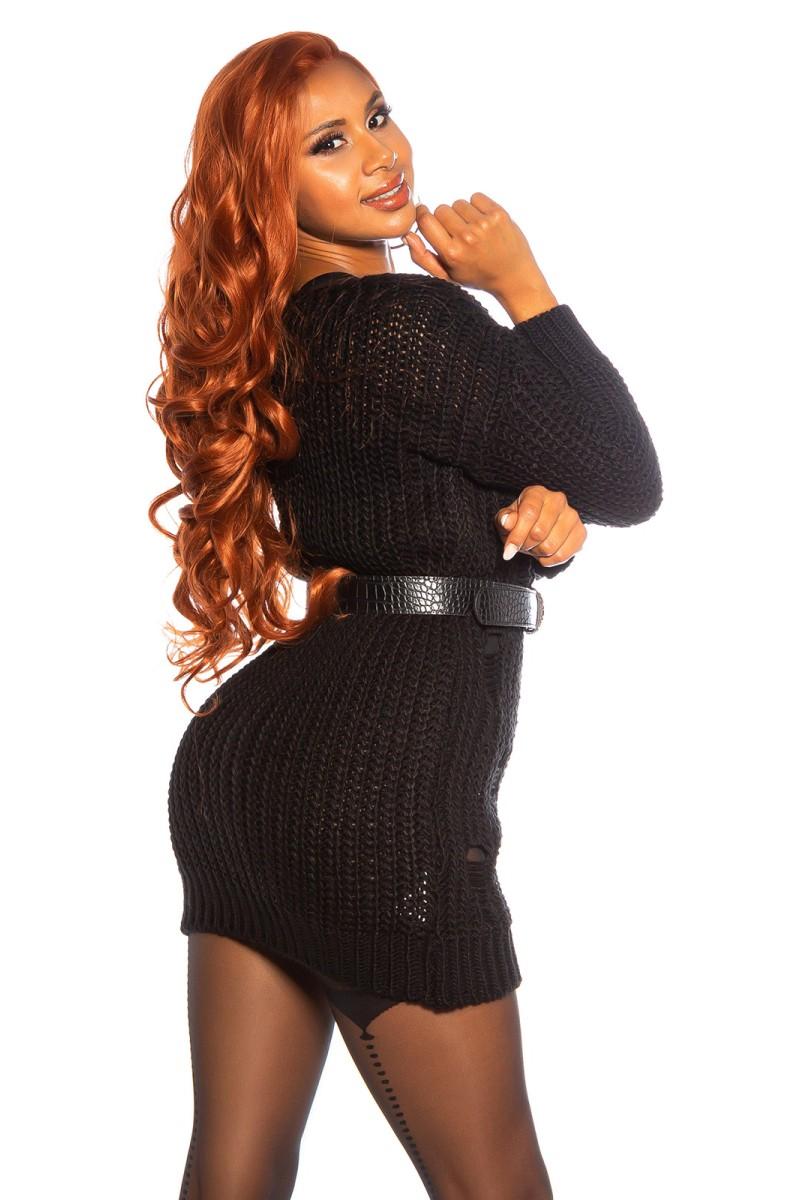 Juodos spalvos trumpa suknelė su kauke