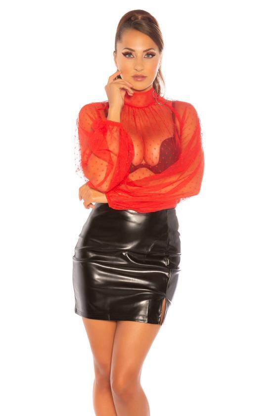 Raudonos spalvos trumpa suknelė su kauke