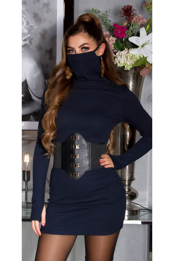 Tamsiai mėlynos spalvos trumpa suknelė su kauke