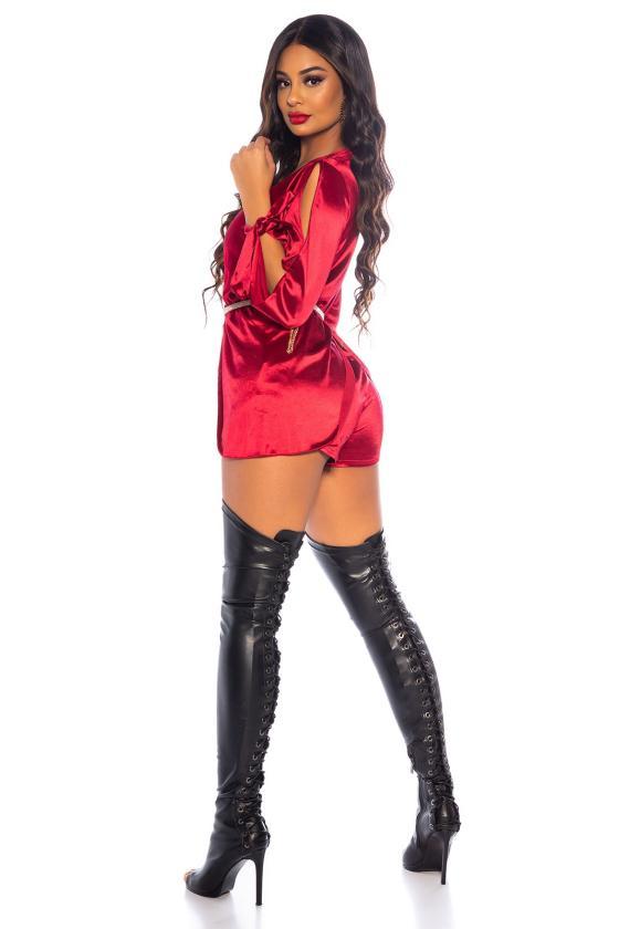 Rausvos spalvos latekso imitacijos sijonas
