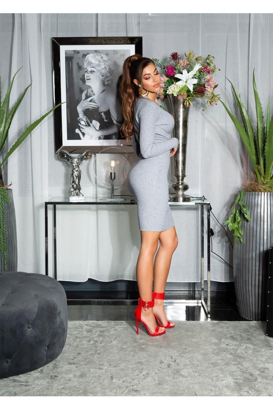 Raudonos spalvos latekso imitacijos sijonas