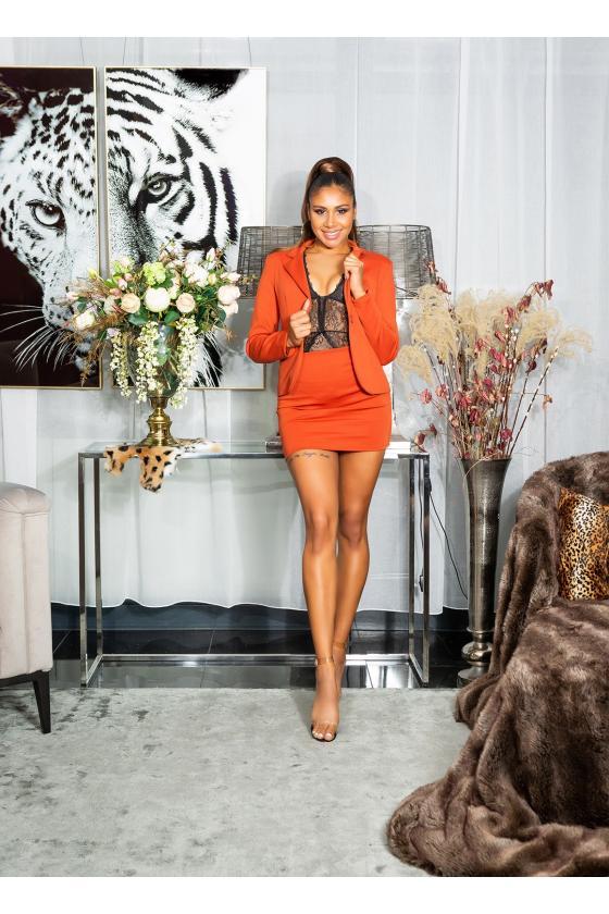 Odos imitacijos kapučino spalvos mini sijonas