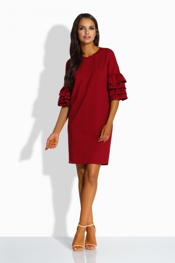 Bordinės spalvos ispaniško stiliaus suknelė L229