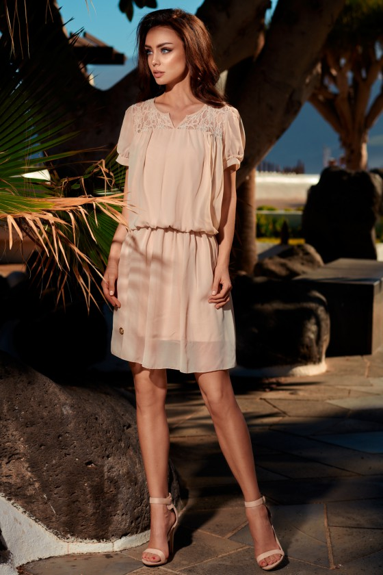 Smėlio spalvos suknelė L241