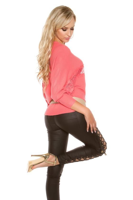 Rausva trapecijos formos suknelė L247