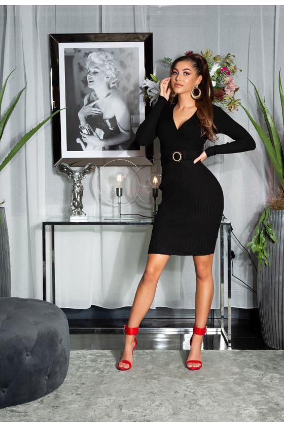 Klasikinė tamsiai mėlyna suknelė iki kelių_154169