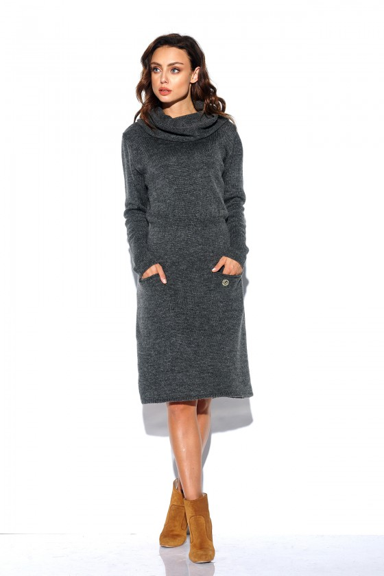 Šilta tamsiai pilkos spalvos suknelė su aukštu kaklu ir kišenėmis_154176