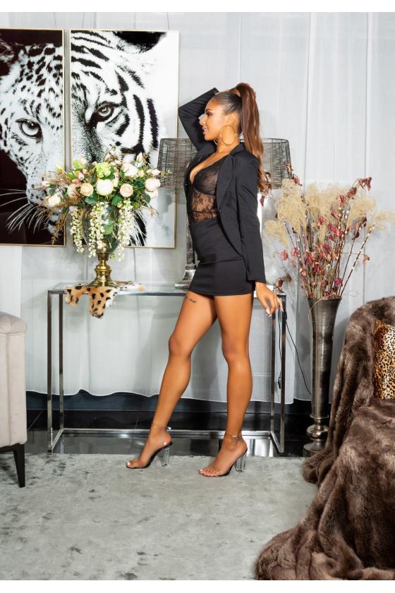 Šilta kapučino spalvos suknelė su aukštu kaklu ir kišenėmis_154181