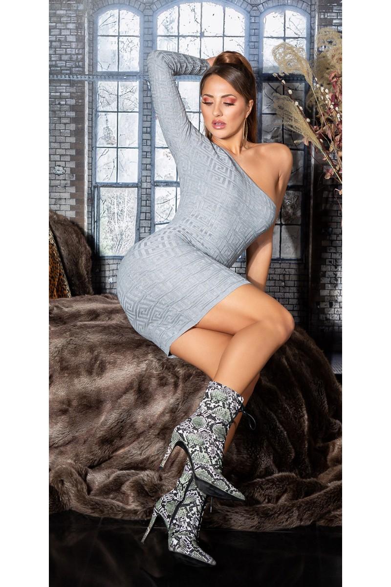 Odos imitacijos suknelė su tiulio rankovėmis_154324