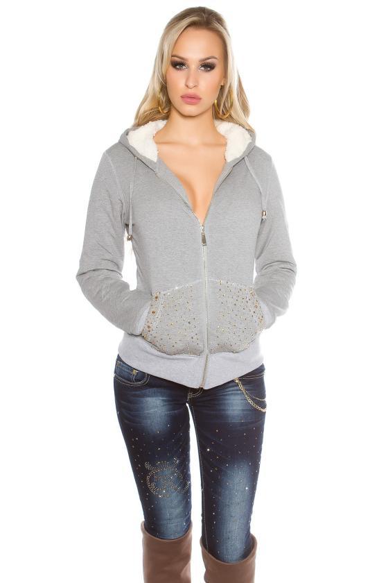 Mėlynos spalvos laisvalaikio suknelė su gobtuvu_155572