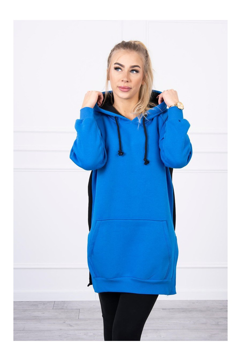 Mėlynos spalvos laisvalaikio suknelė su gobtuvu