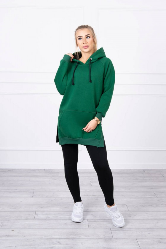 Žalios spalvos laisvalaikio suknelė su gobtuvu_155594
