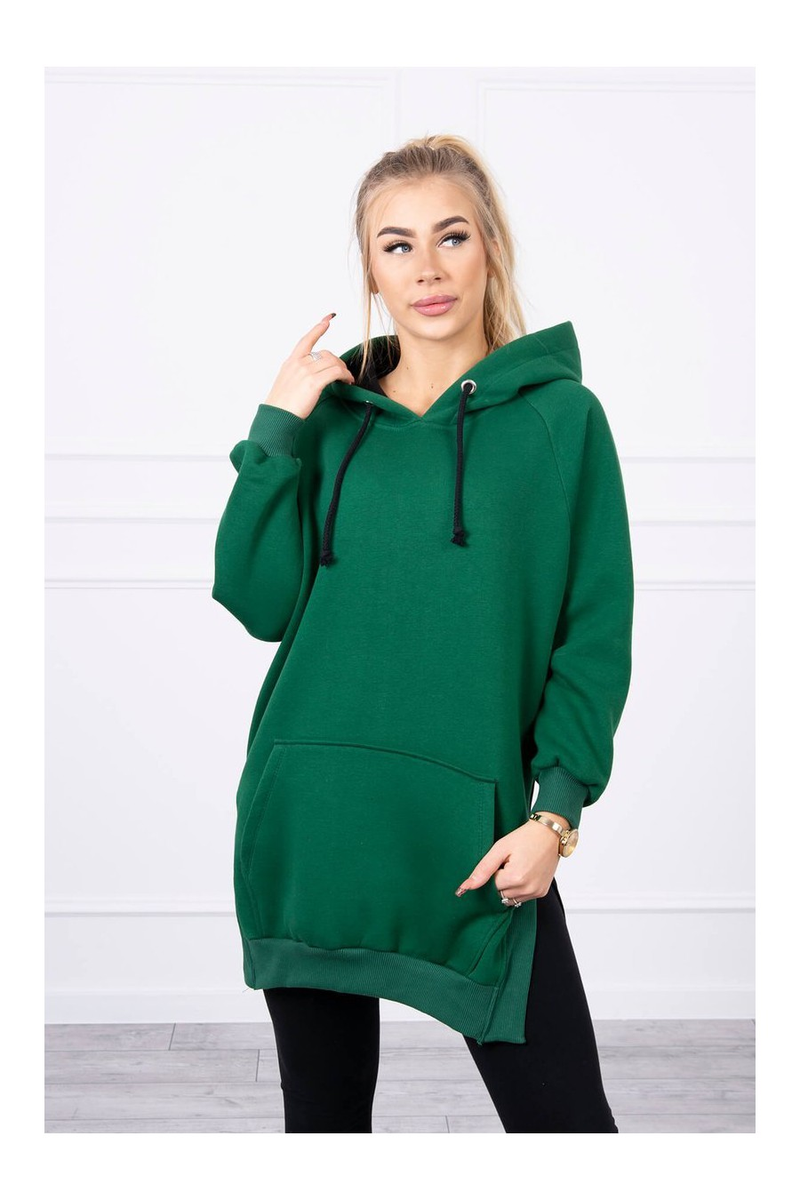 Žalios spalvos laisvalaikio suknelė su gobtuvu