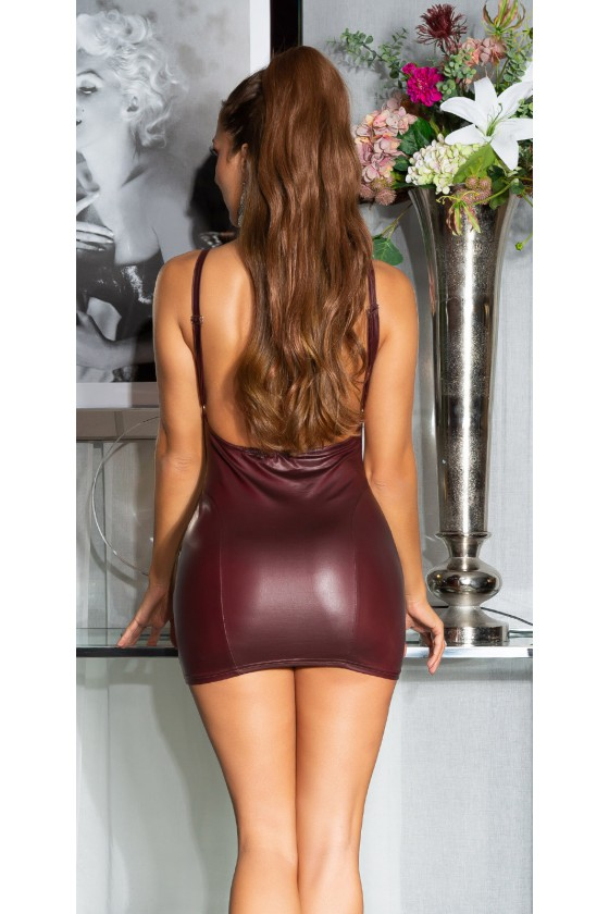 Bordinė latekso imitacijos suknelė atvira nugara_155710