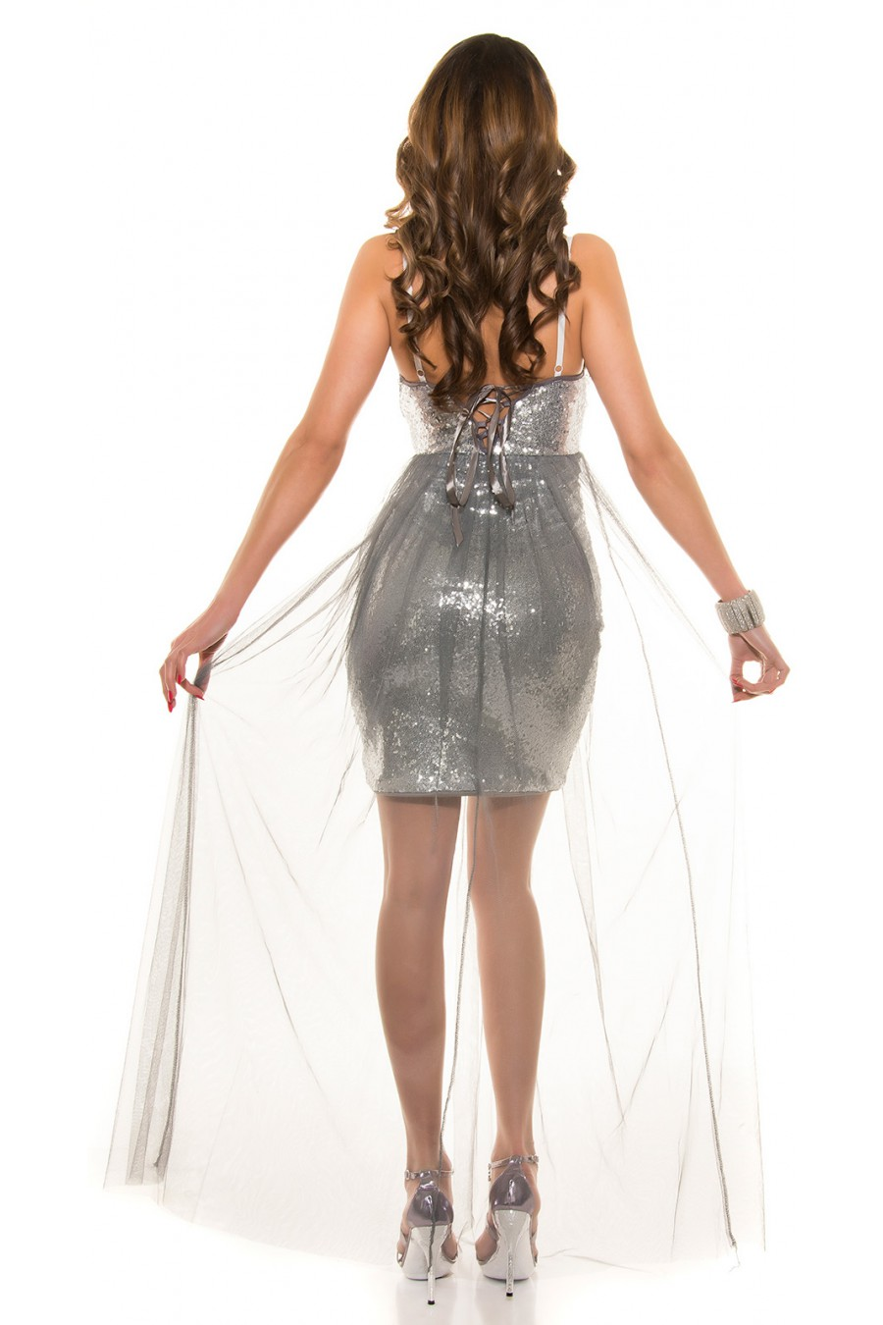 Sidabro spalvos blizgi suknelė dekoruota tiuliu_155882