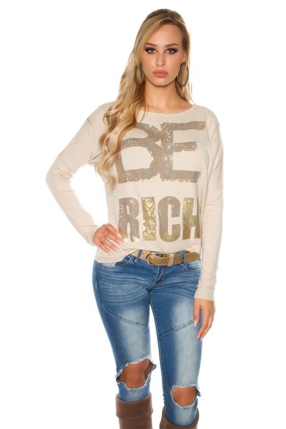 Kapučino spalvos blizgi suknelė dekoruota tiuliu_155889