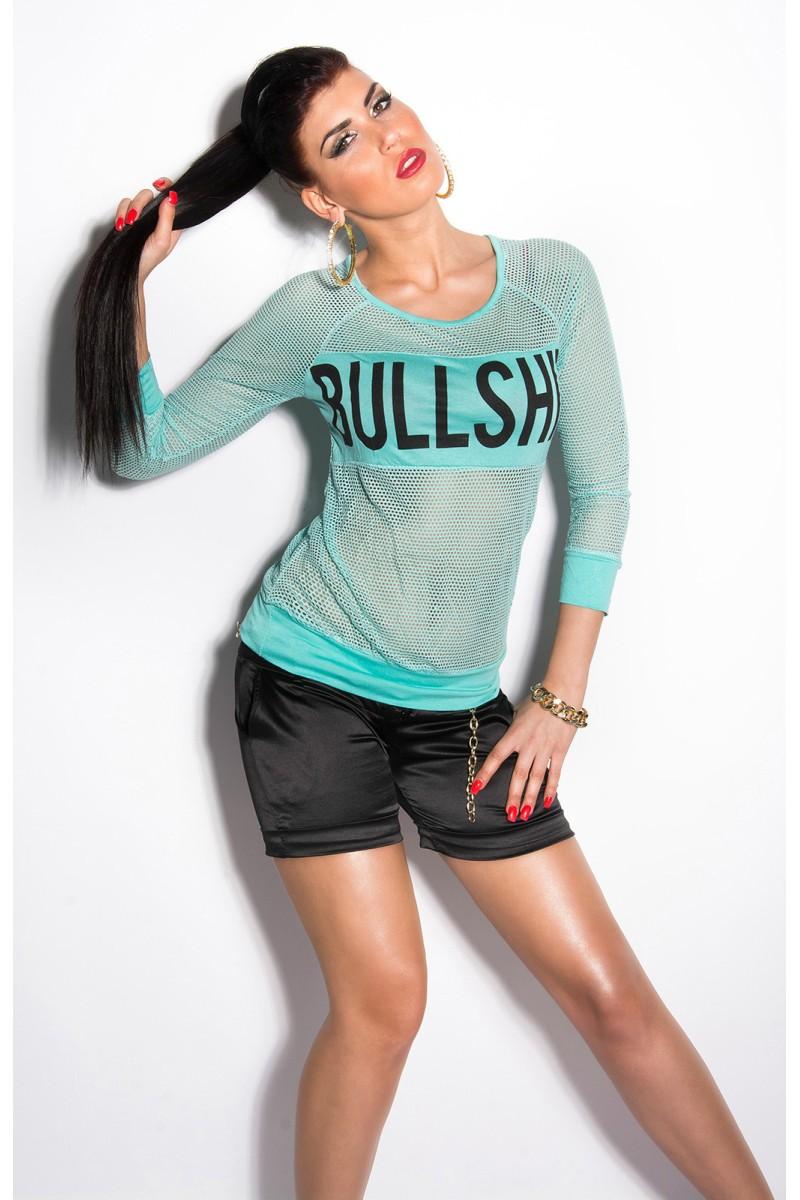 Mėlynos spalvos blizgi suknelė dekoruota tiuliu_155898