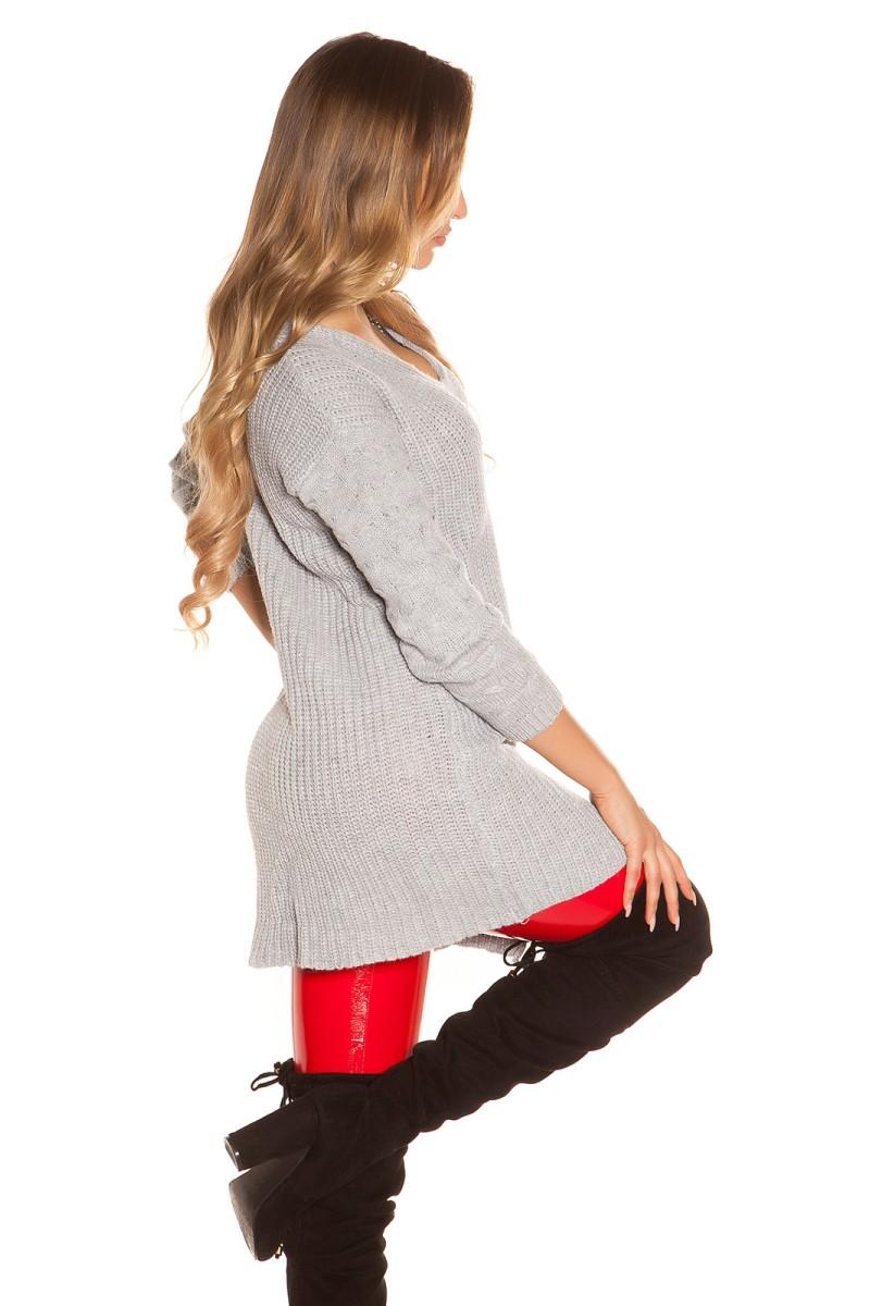 Koralų spalvos gipiūrinė suknelė IN50242