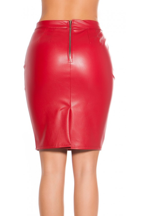 Raudonas odos imitacijos sijonas_155987