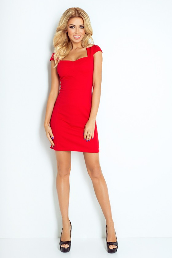 Raudonos spalvos trumpa suknelė 118-2_158622