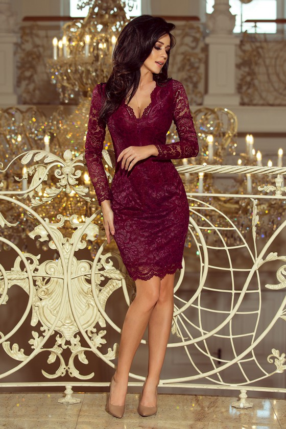 Bordinės spalvos suknelė 170-5_158694