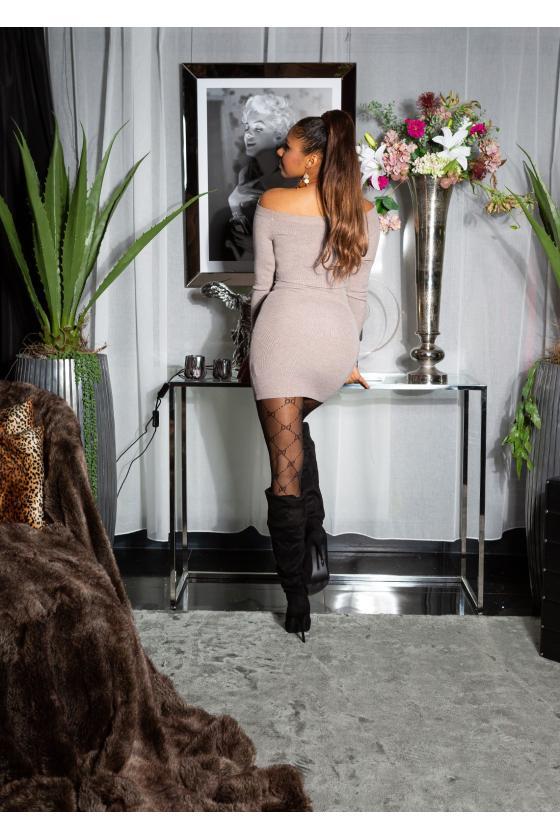 Bordinės spalvos peplum suknelė