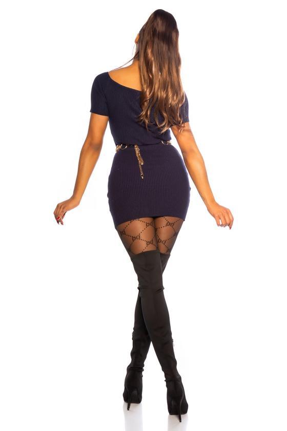 Mėlynos spalvos peplum suknelė_160767