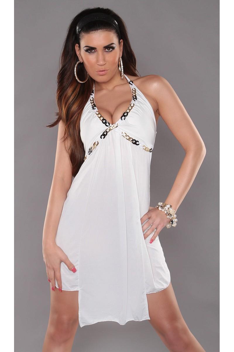 Raudonos spalvos šifoninė suknelė LAUREN_165631