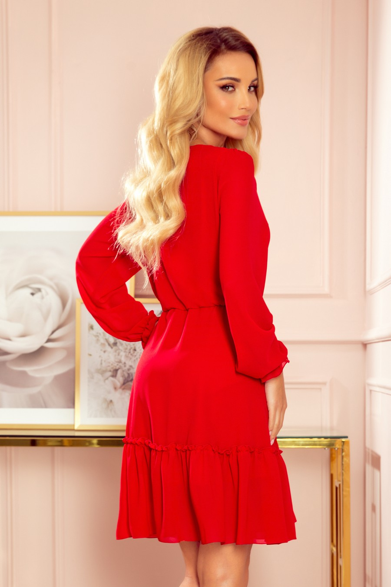 Raudonos spalvos šifoninė suknelė LAUREN_165632