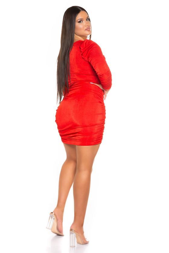 Raudonos spalvos šifoninė suknelė 332-2