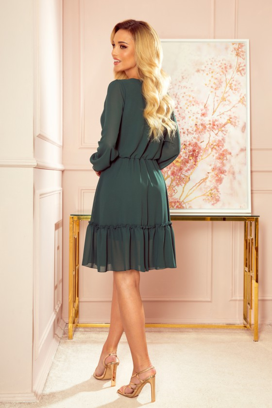 Žalios spalvos šifoninė suknelė LAUREN_166702