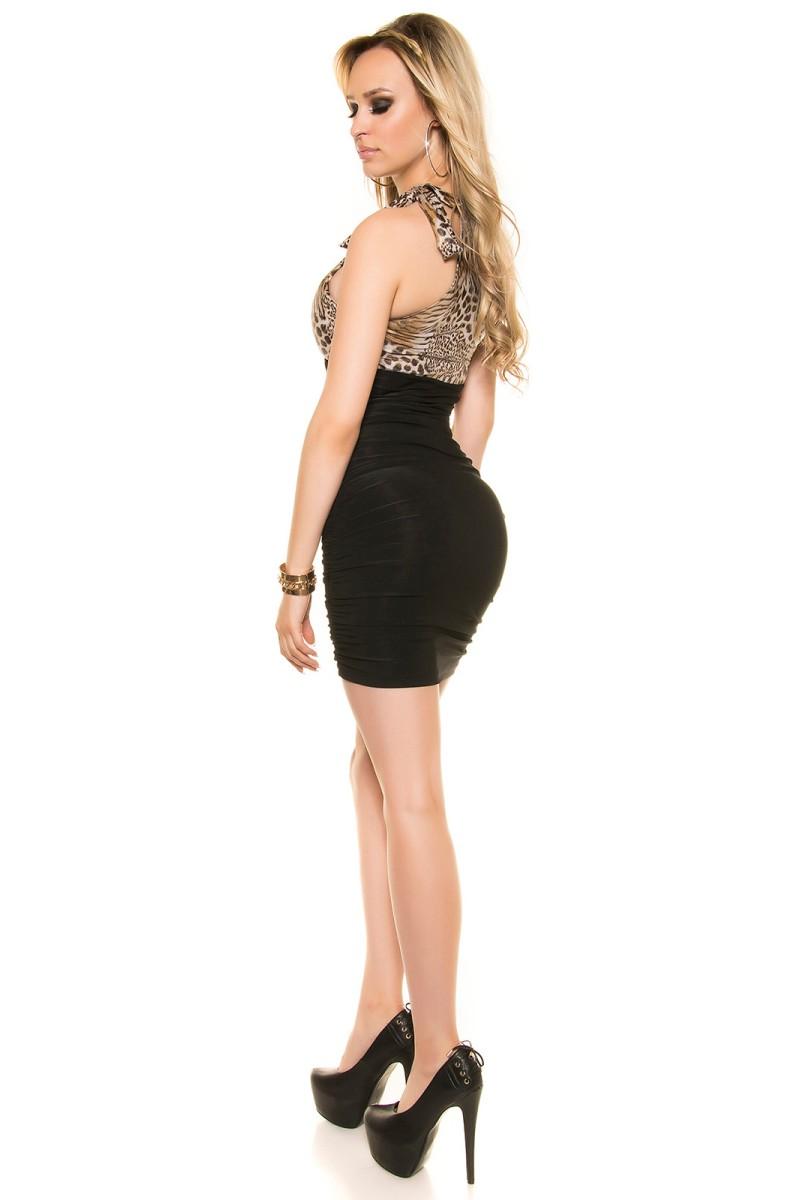 Juodos spalvos latekso imitacijos suknelė_166993