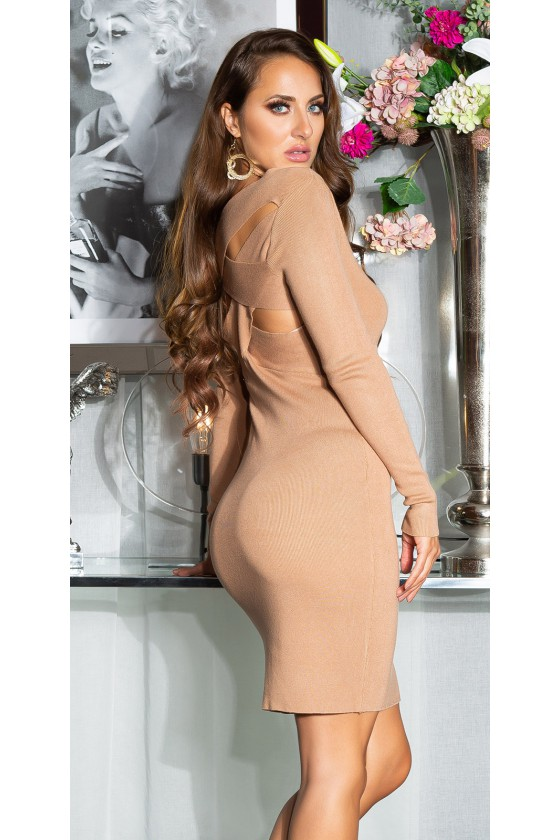 Kapučino spalvos megzta suknelė PU3196S