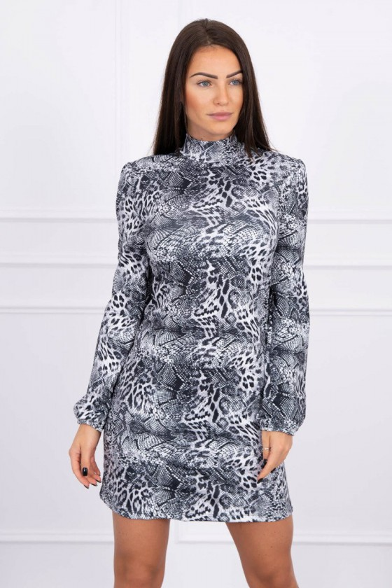 Pilkos spalvos gyvatės rašto suknelė