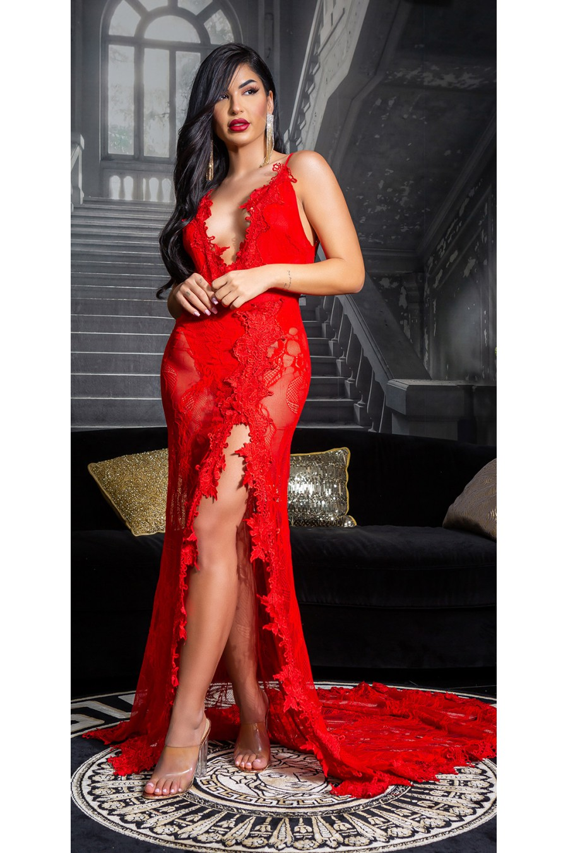 Efektinga raudona gipiūrinė suknelė