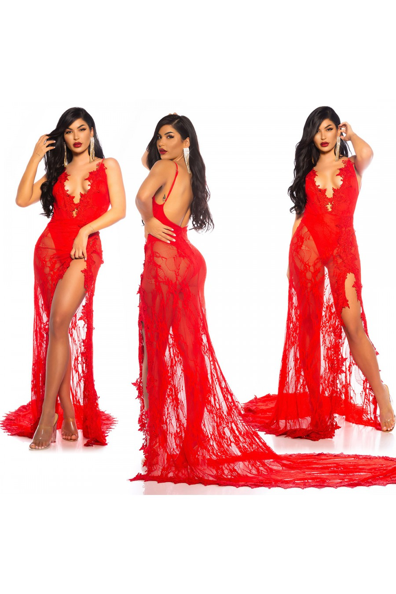 Efektinga raudona gipiūrinė suknelė_168620