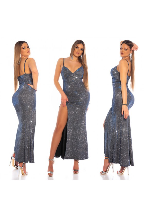 Mėlynos spalvos blizgi suknelė_168733