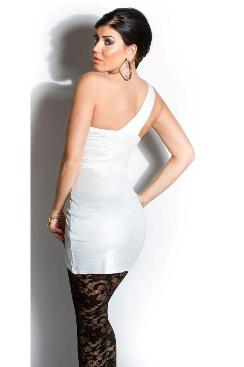 Bronzos spalvos satino imitacijos suknelė